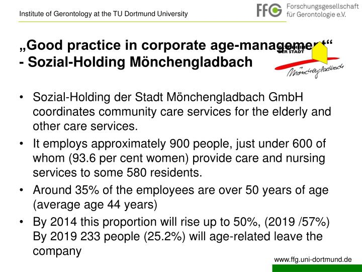 """Good practice in corporate age-management"" - Sozial-Holding Mönchengladbach"