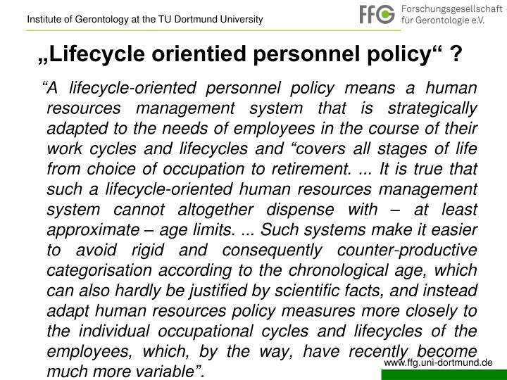"""Lifecycle orientied personnel policy"" ?"