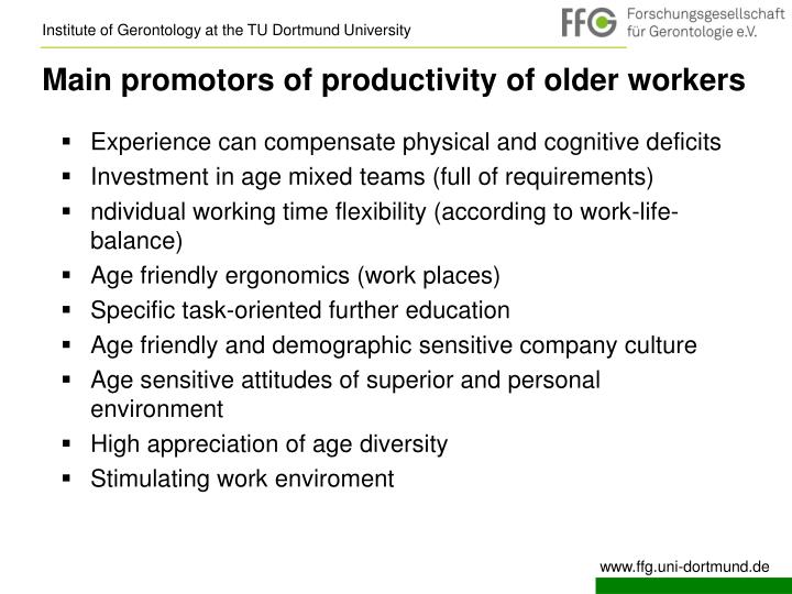 Main promotors of productivity of older workers