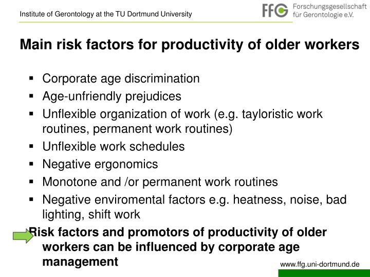 Main risk factors for productivity of older workers