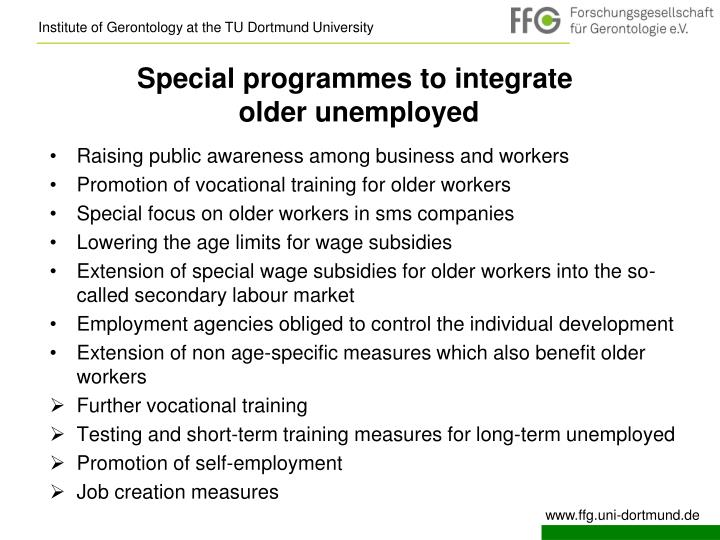 Special programmes to integrate