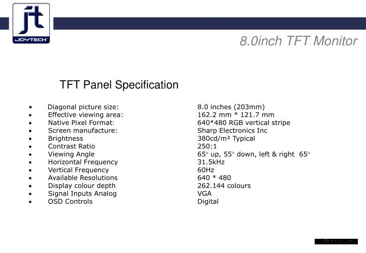 8.0inch TFT Monitor