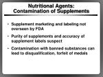 nutritional agents contamination of supplements