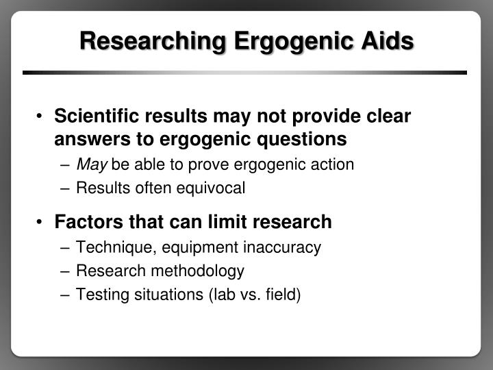 Researching Ergogenic Aids
