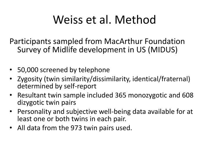 Weiss et al. Method