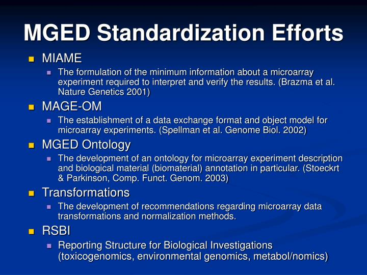 MGED Standardization Efforts
