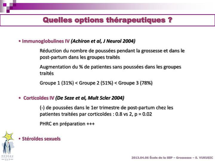 Quelles options thérapeutiques ?