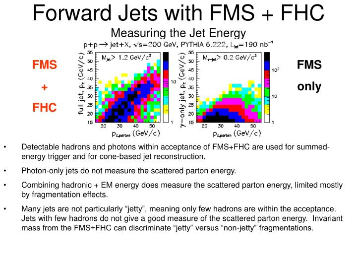 Forward Jets with FMS + FHC