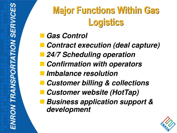 Major Functions Within Gas Logistics