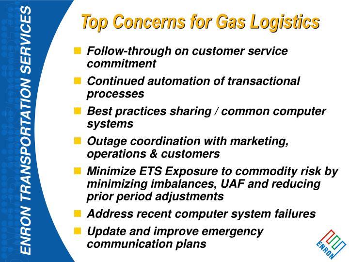 Top Concerns for Gas Logistics