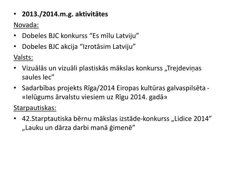 2013./2014.m.g. aktivitātes
