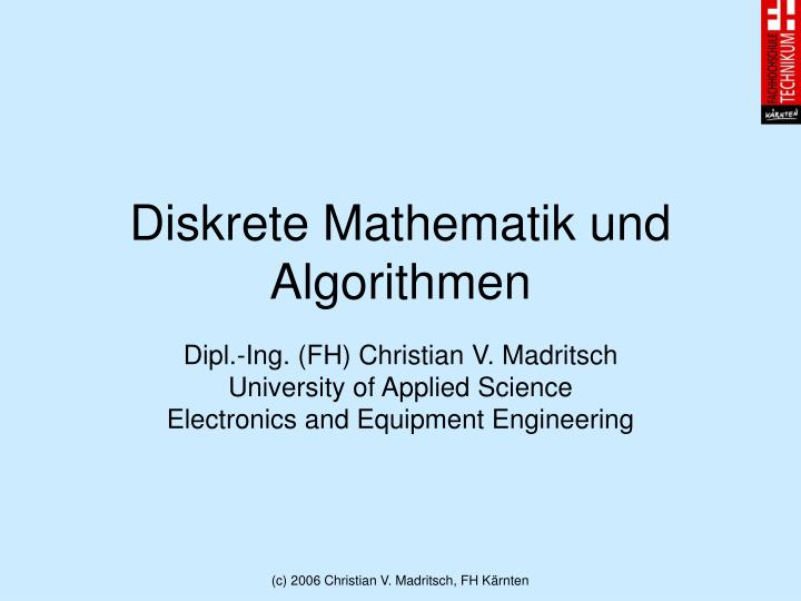 Diskrete Mathematik und Algorithmen