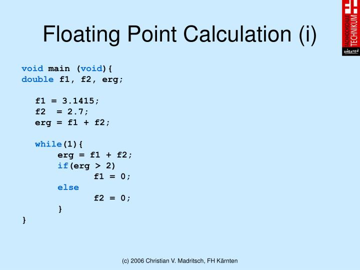 Floating Point Calculation (i)