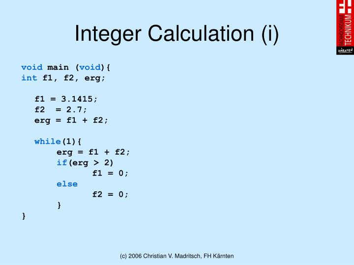 Integer Calculation (i)