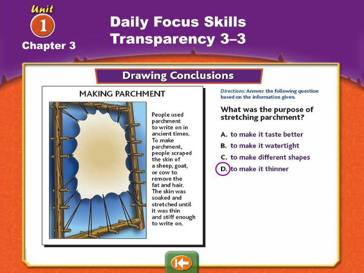 Daily Focus Skills Transparency 3–3