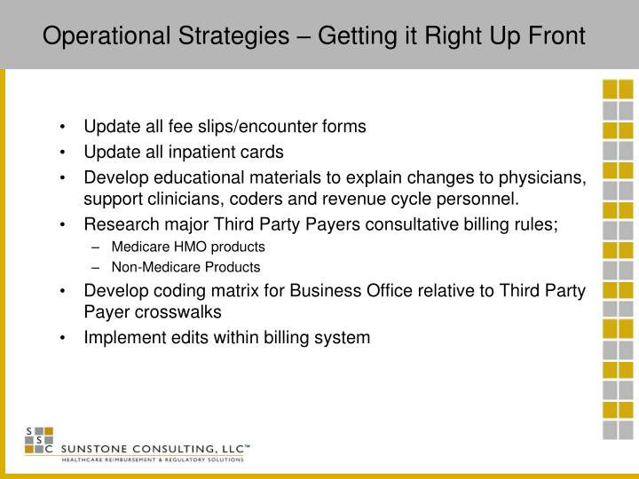 Operational Strategies – Getting it Right Up Front