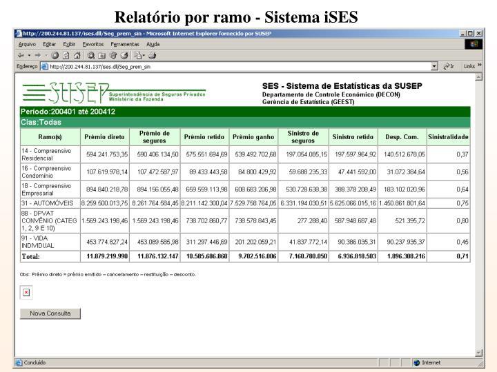 Relatório por ramo - Sistema iSES