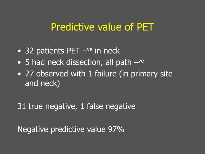 Predictive value of PET