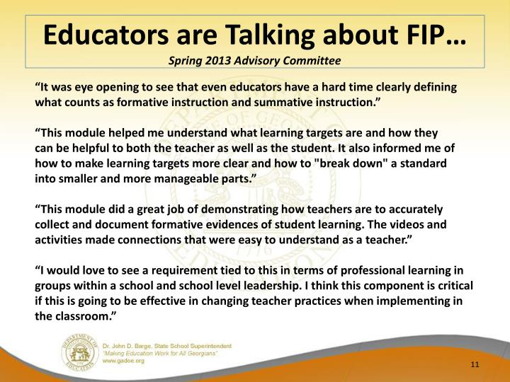 Educators are Talking about FIP…