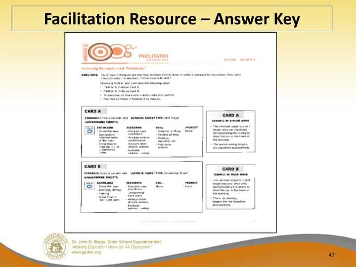 Facilitation Resource – Answer Key