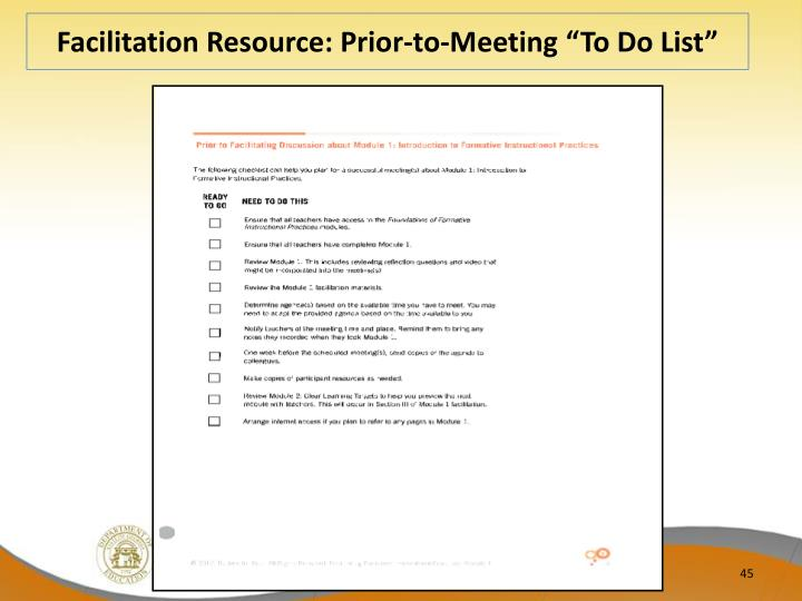 "Facilitation Resource: Prior-to-Meeting ""To Do List"""