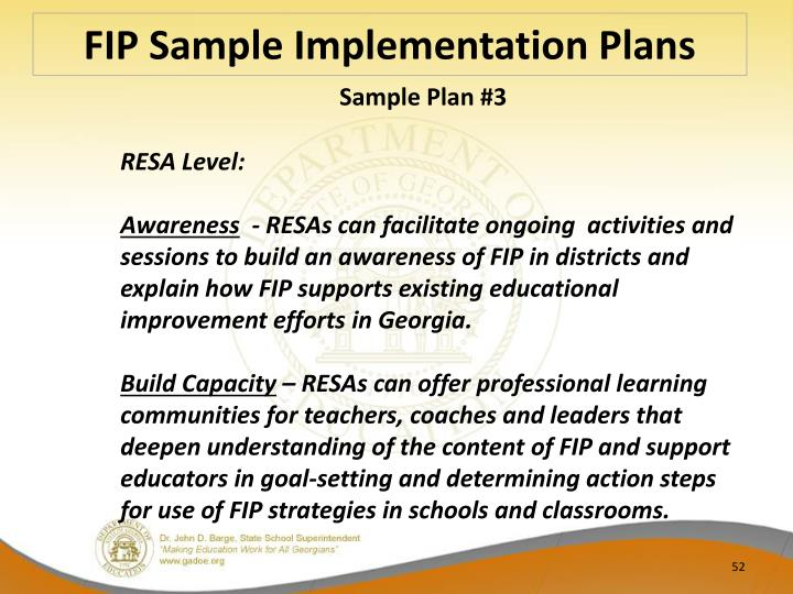 FIP Sample Implementation Plans