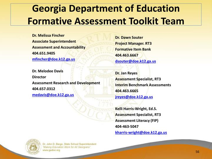 Georgia Department of Education Formative Assessment Toolkit Team