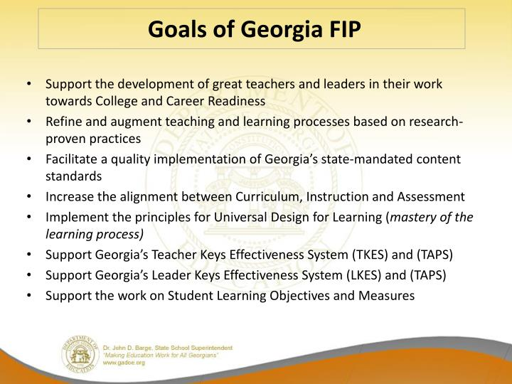 Goals of Georgia FIP
