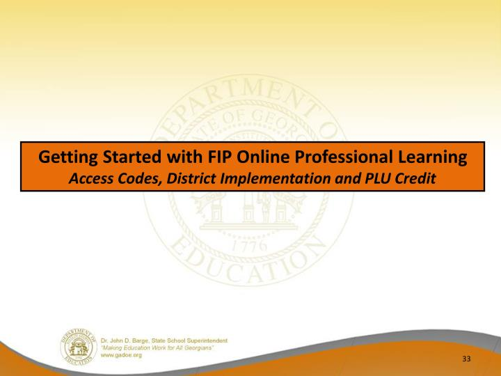 Getting Started with FIP Online Professional Learning