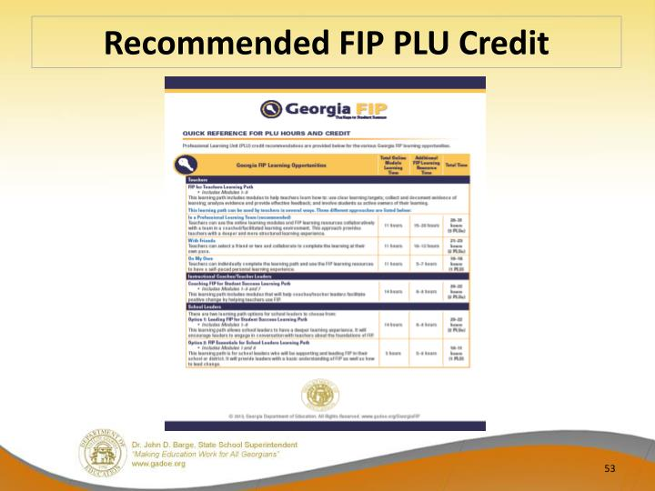 Recommended FIP PLU Credit