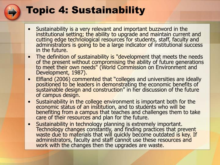 Topic 4: Sustainability