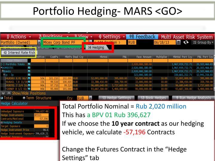 Portfolio Hedging- MARS <GO>