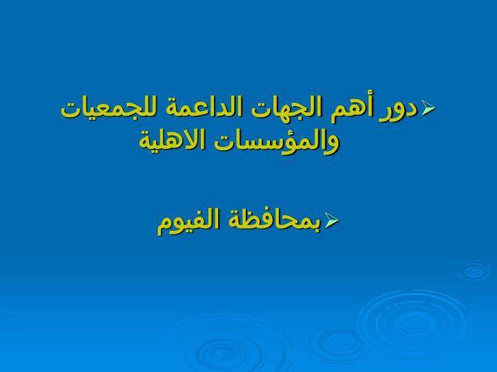 دور أهم الجهات الداعمة للجمعيات والمؤسسات الاهلية