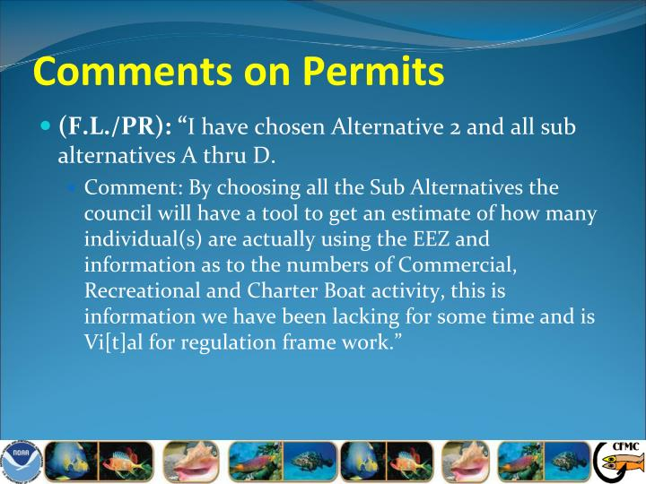 Comments on Permits