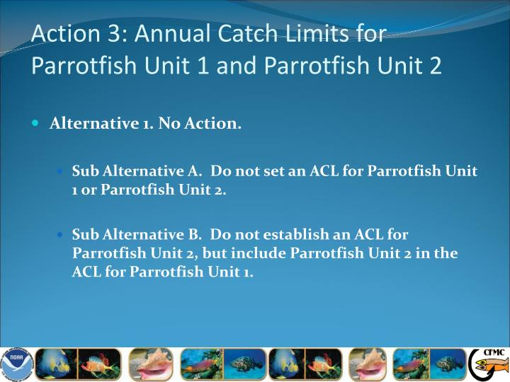 Action 3: Annual Catch Limits for Parrotfish Unit 1 and Parrotfish Unit 2