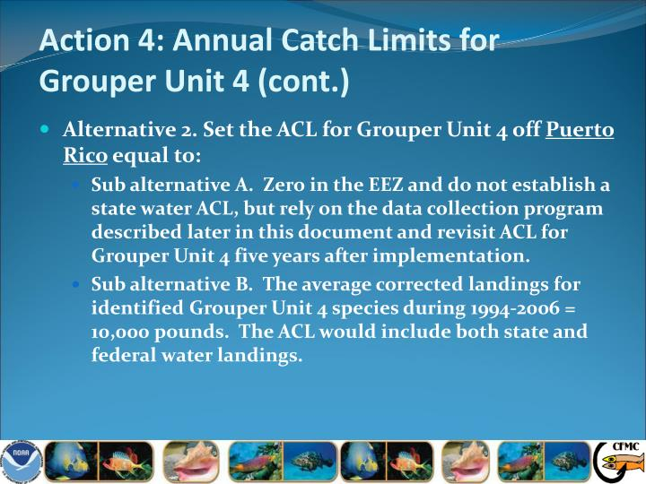 Action 4: Annual Catch Limits for Grouper Unit 4 (cont.)
