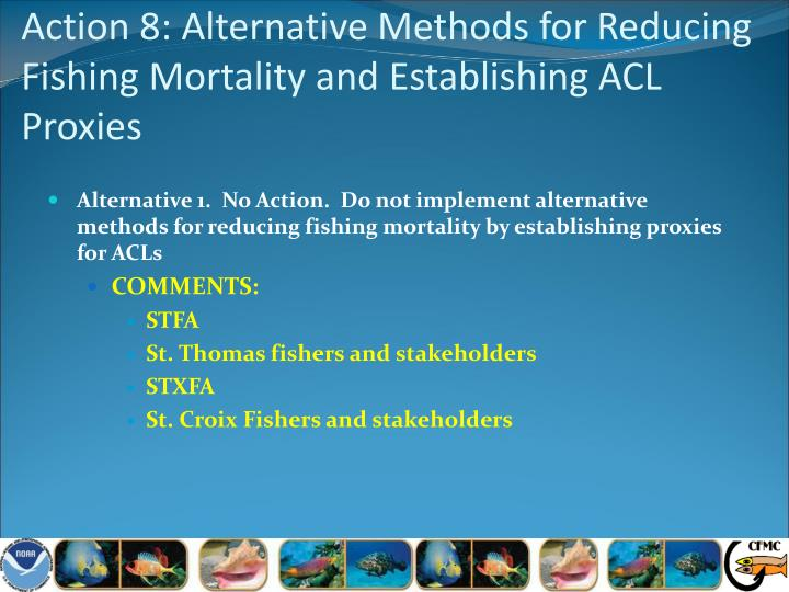 Action 8: Alternative Methods for Reducing Fishing Mortality and Establishing ACL Proxies