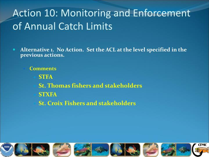 Action 10: Monitoring and Enforcement of Annual Catch Limits