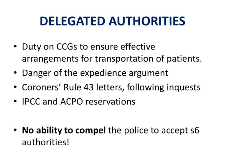 DELEGATED AUTHORITIES