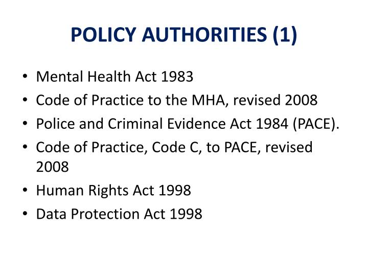 POLICY AUTHORITIES (1)
