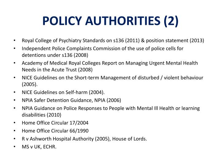POLICY AUTHORITIES (2)