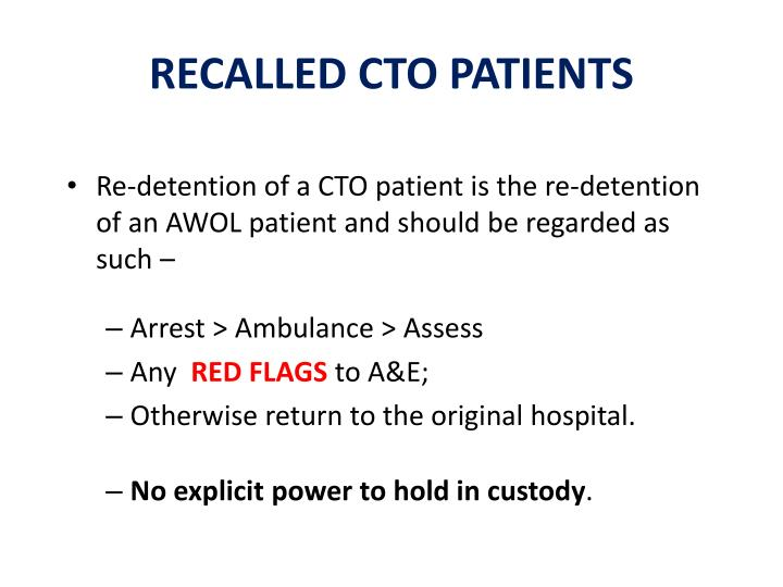 RECALLED CTO PATIENTS