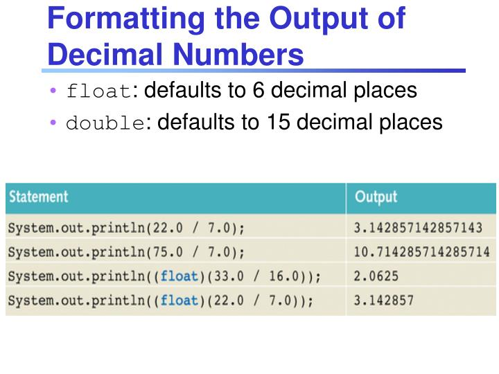 Formatting the Output of Decimal Numbers