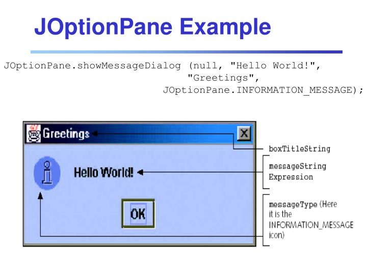 JOptionPane Example