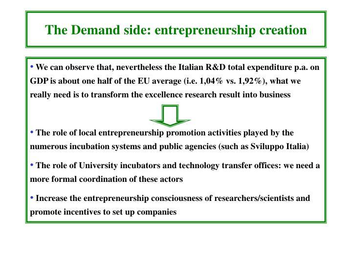 The Demand side: entrepreneurship creation