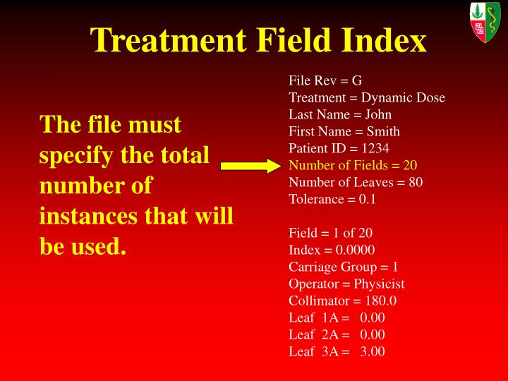 Treatment Field Index