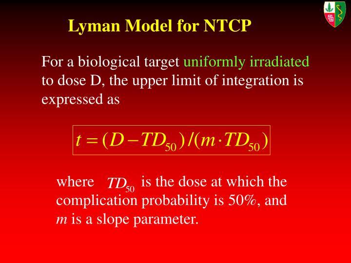 Lyman Model for NTCP