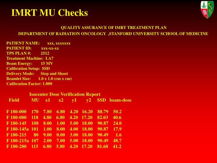 IMRT MU Checks