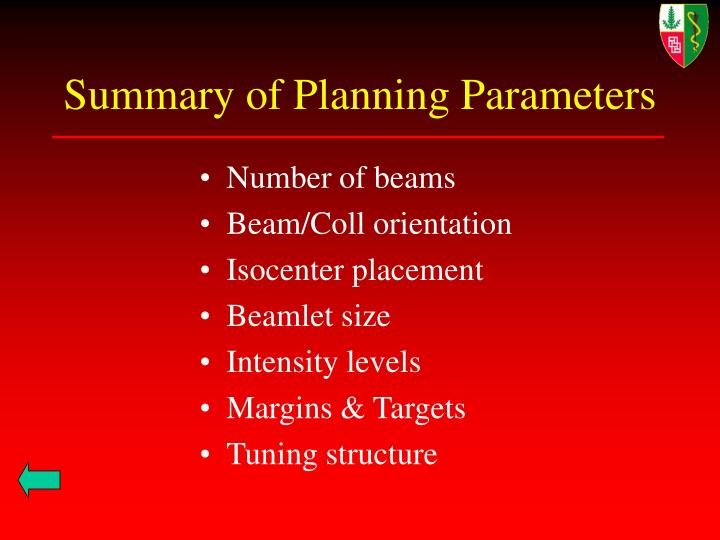 Summary of Planning Parameters