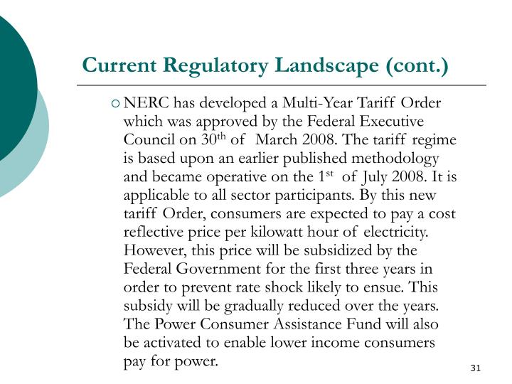 Current Regulatory Landscape (cont.)
